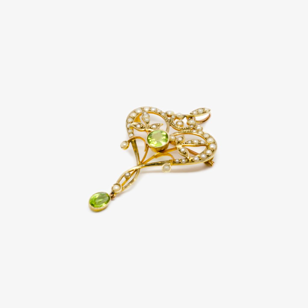 Jordans Jewellers antique 9ct yellow gold peridot and seed pearl lavalier pendant brooch