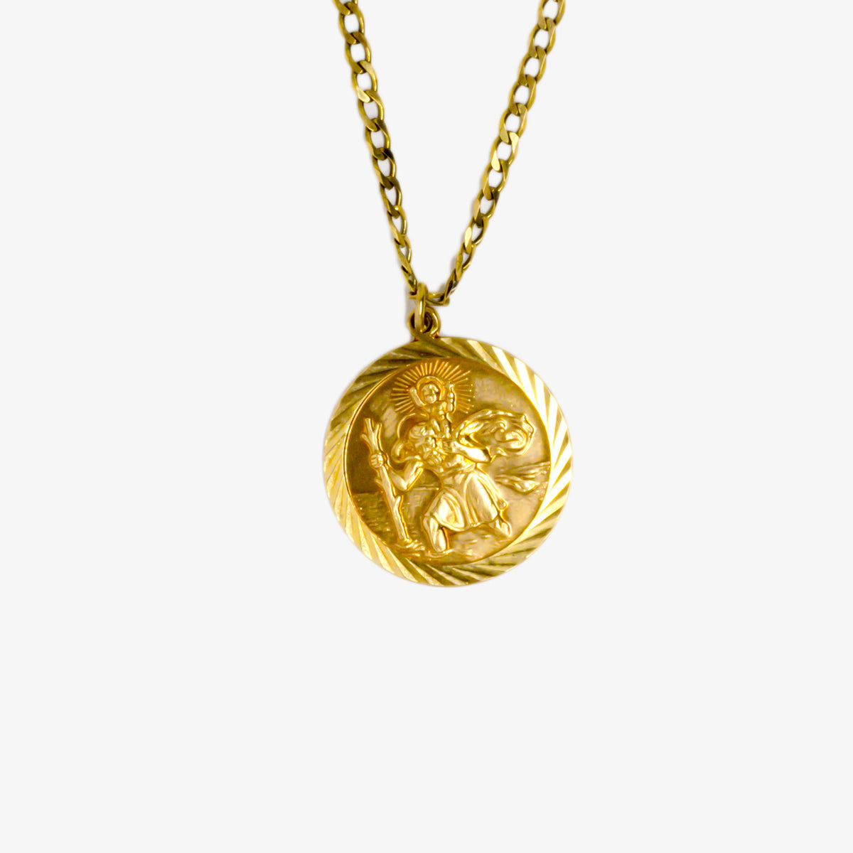 Gold St Christopher Pendant Necklace