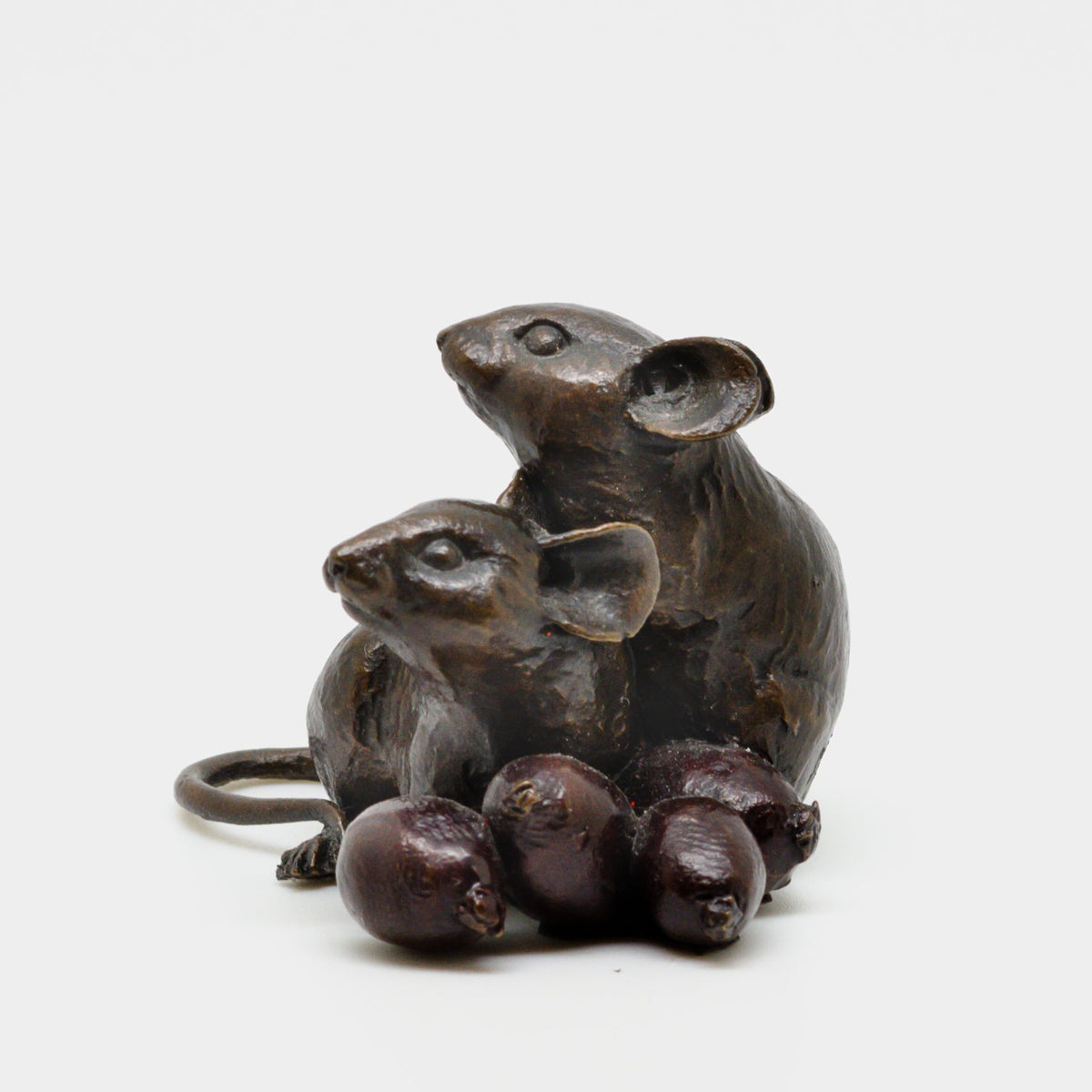 Bronze Mice With Rosehips - Jordans Jewellers