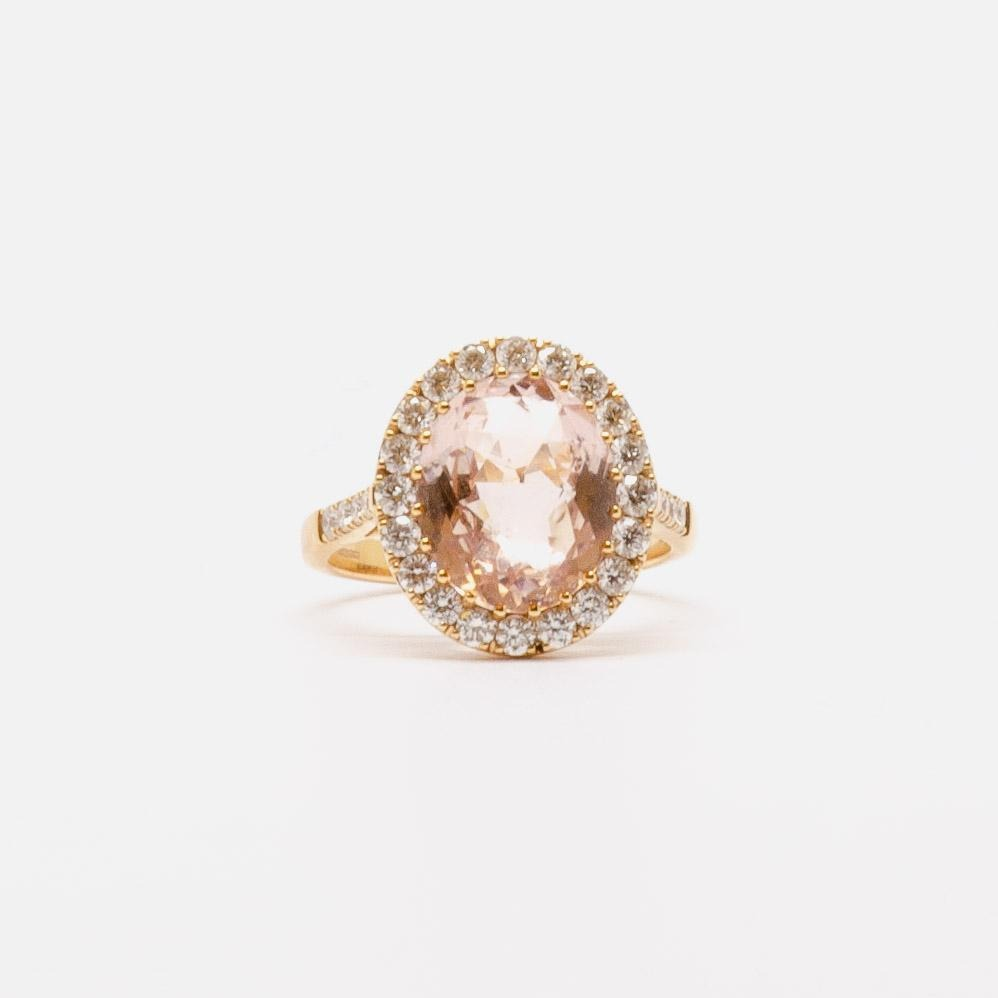 Jordans Jewellers 18ct yellow gold morganite and diamond ring