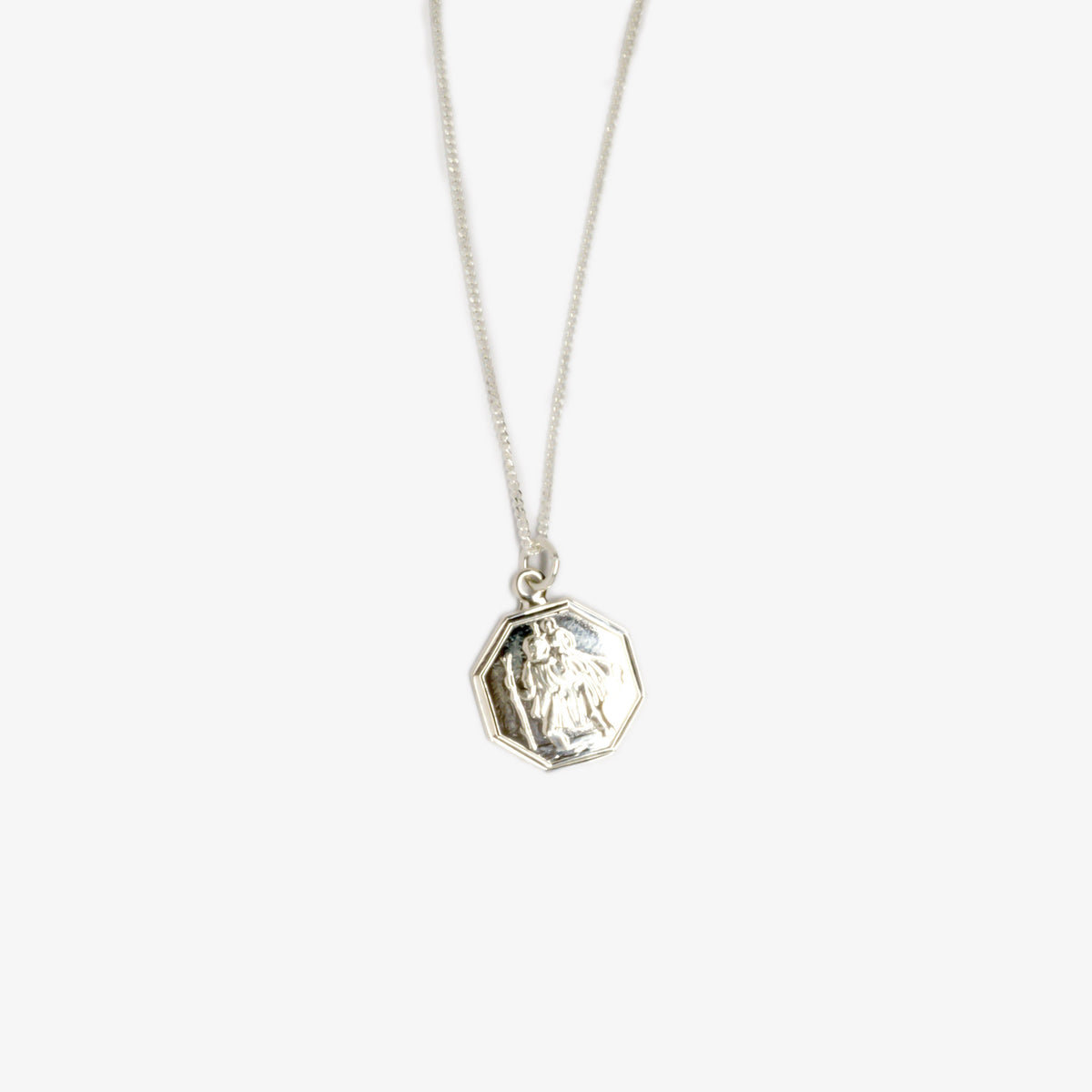 Octagon St Christopher Pendant Necklace