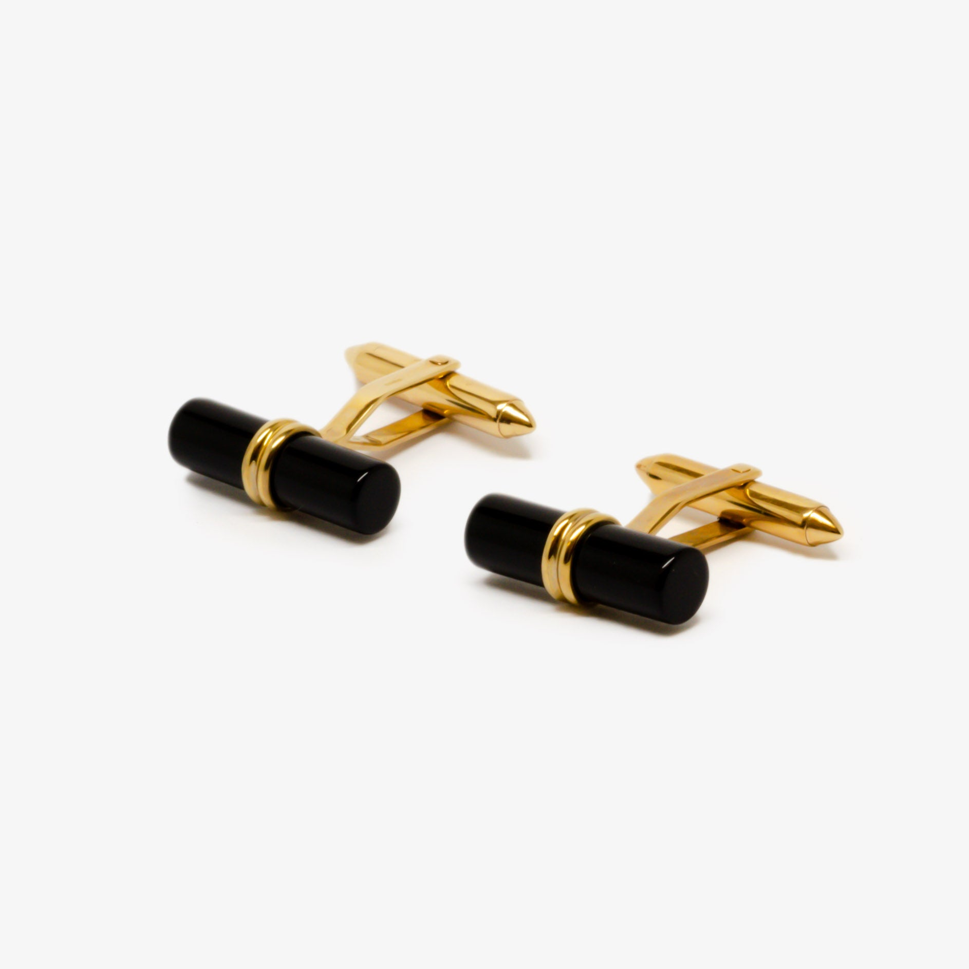 Jordans Jewellers 9ct yellow gold and onyx cufflinks