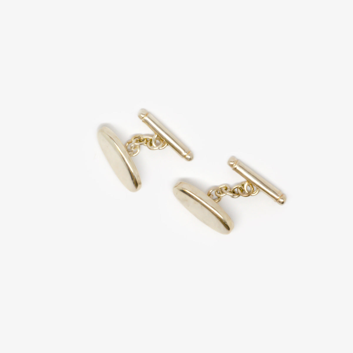 Silver Oval Chain Bar Cufflinks
