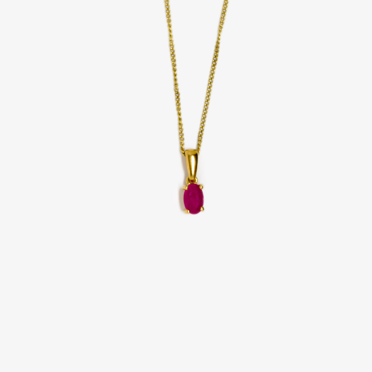 Oval Ruby Pendant Necklace