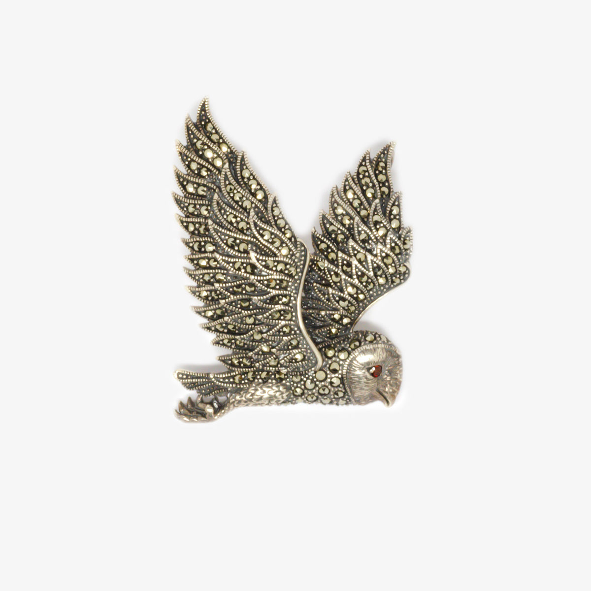 Jordans Jewellers silver marcasite owl brooch pendant - Alternate shot 1