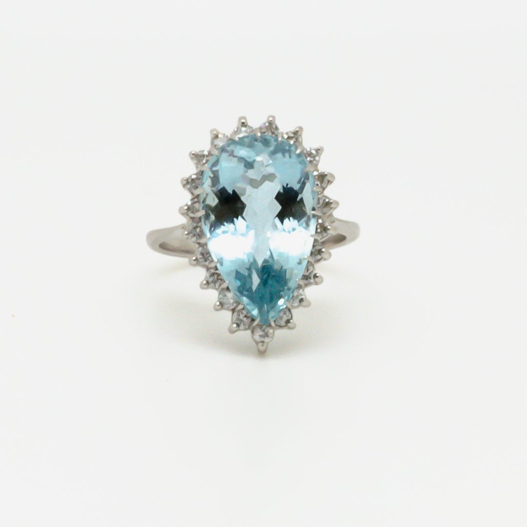 Aquamarine and Diamond Pear Shaped Ring - Jordans Jewellers