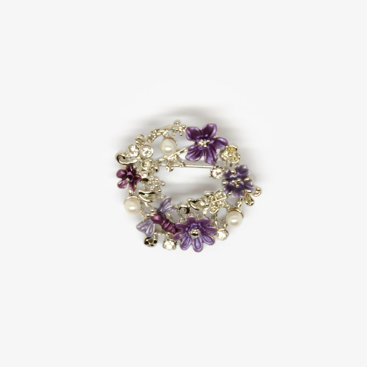 Purple Flowers & Pearl Wreath Brooch