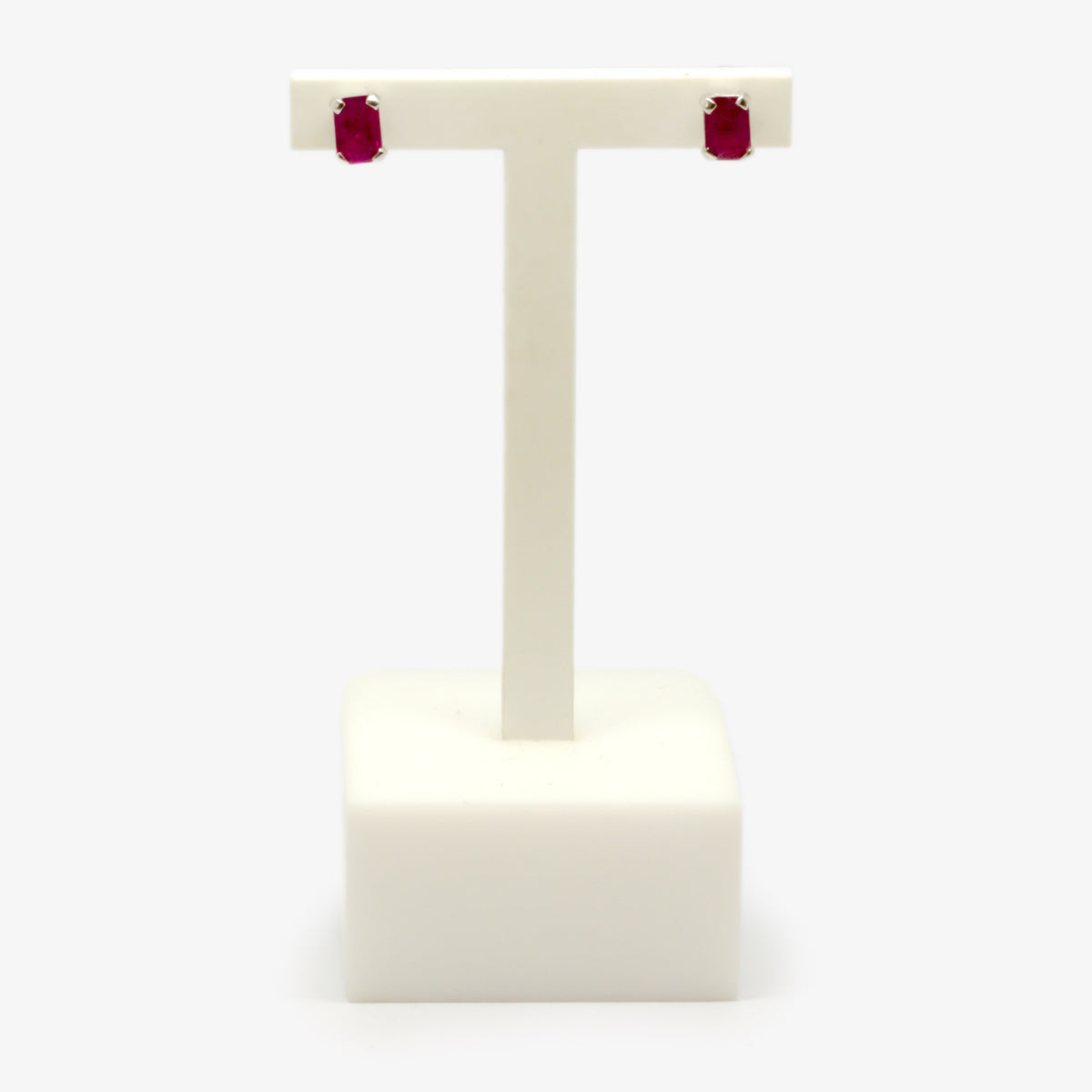 Rectangle Ruby Stud Earrings