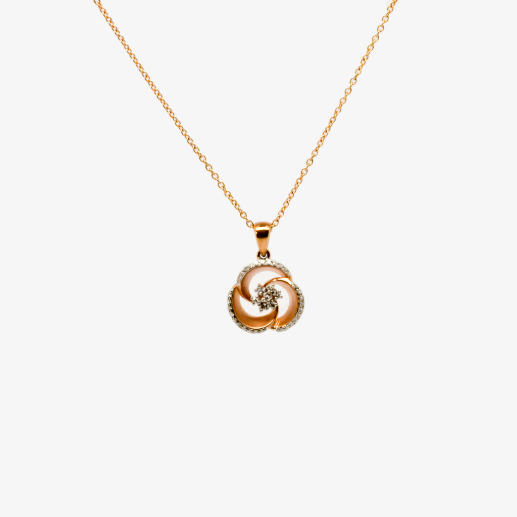 Jordans Jewellers 9ct rose gold diamond pendant necklace
