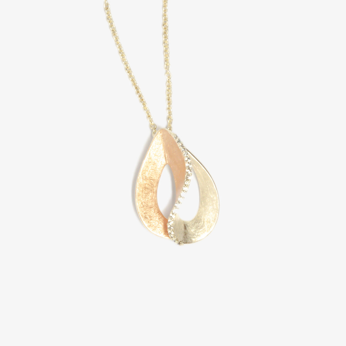 Silver Rose Gold Plated Pear Shape Pendant Necklace
