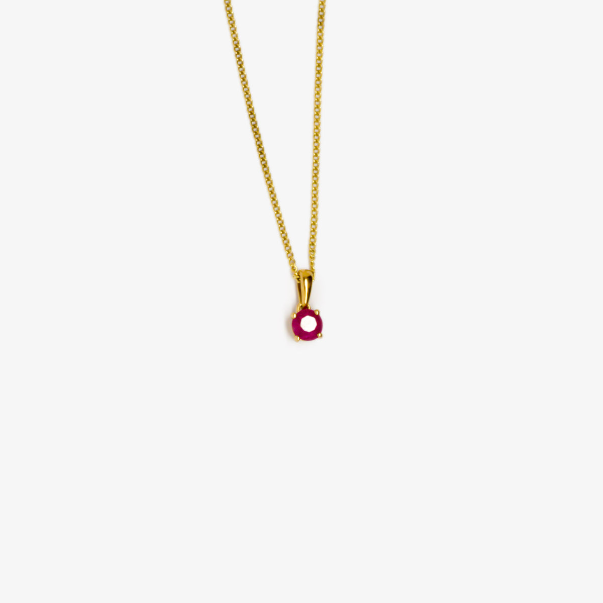 Round Ruby Pendant Necklace