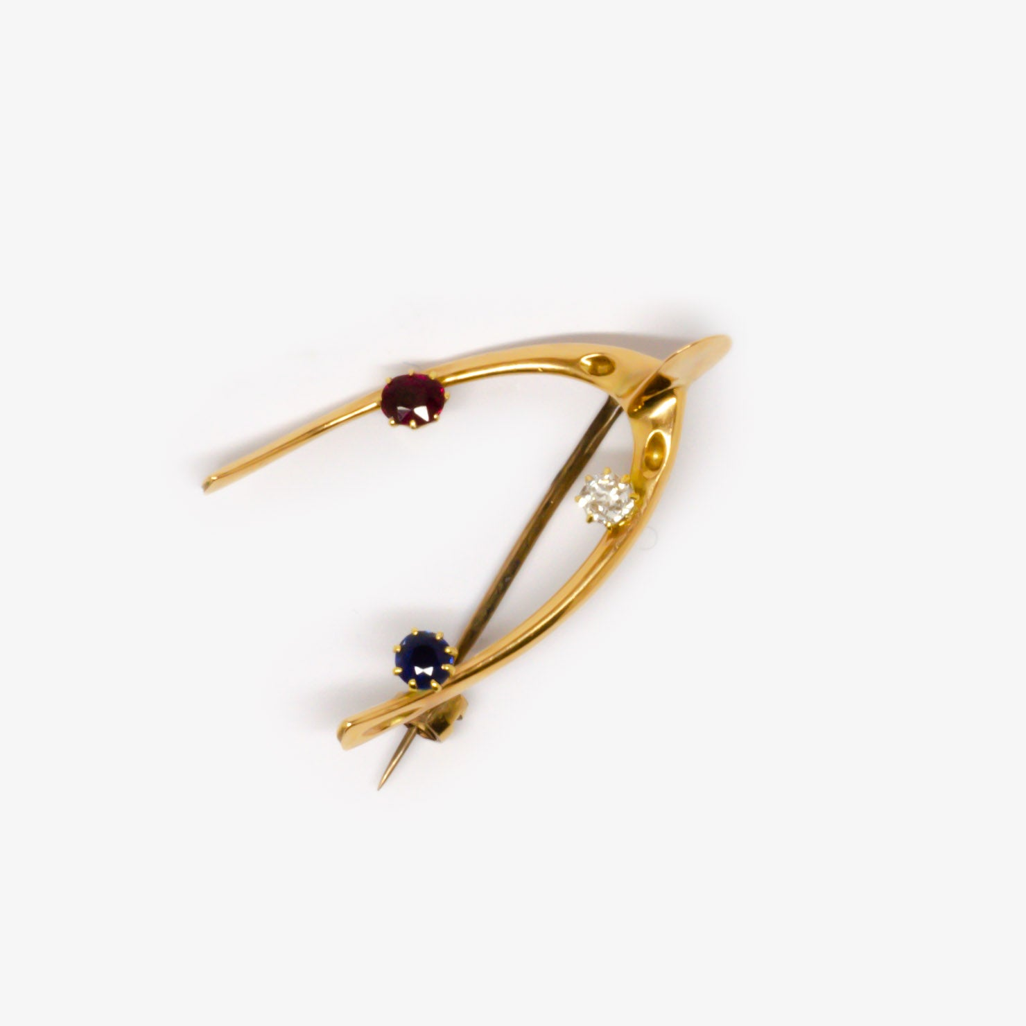 Jordans Jewellers 18ct yellow gold antique diamond sapphire and ruby brooch