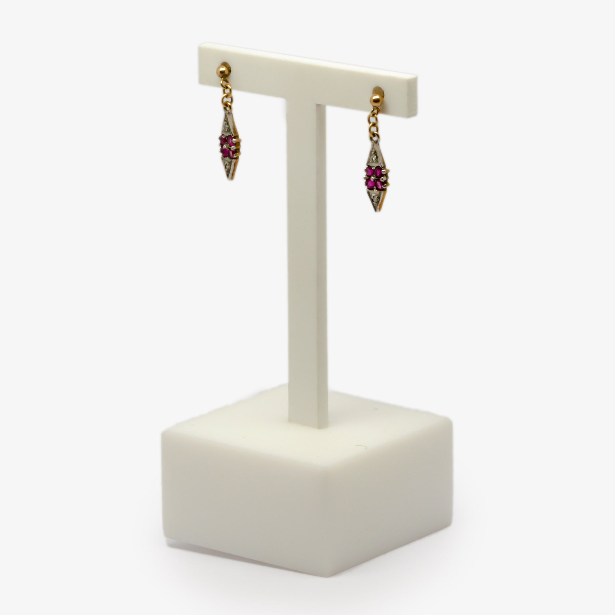 Jordans Jewellers pre-owned ruby and diamond drop earrings