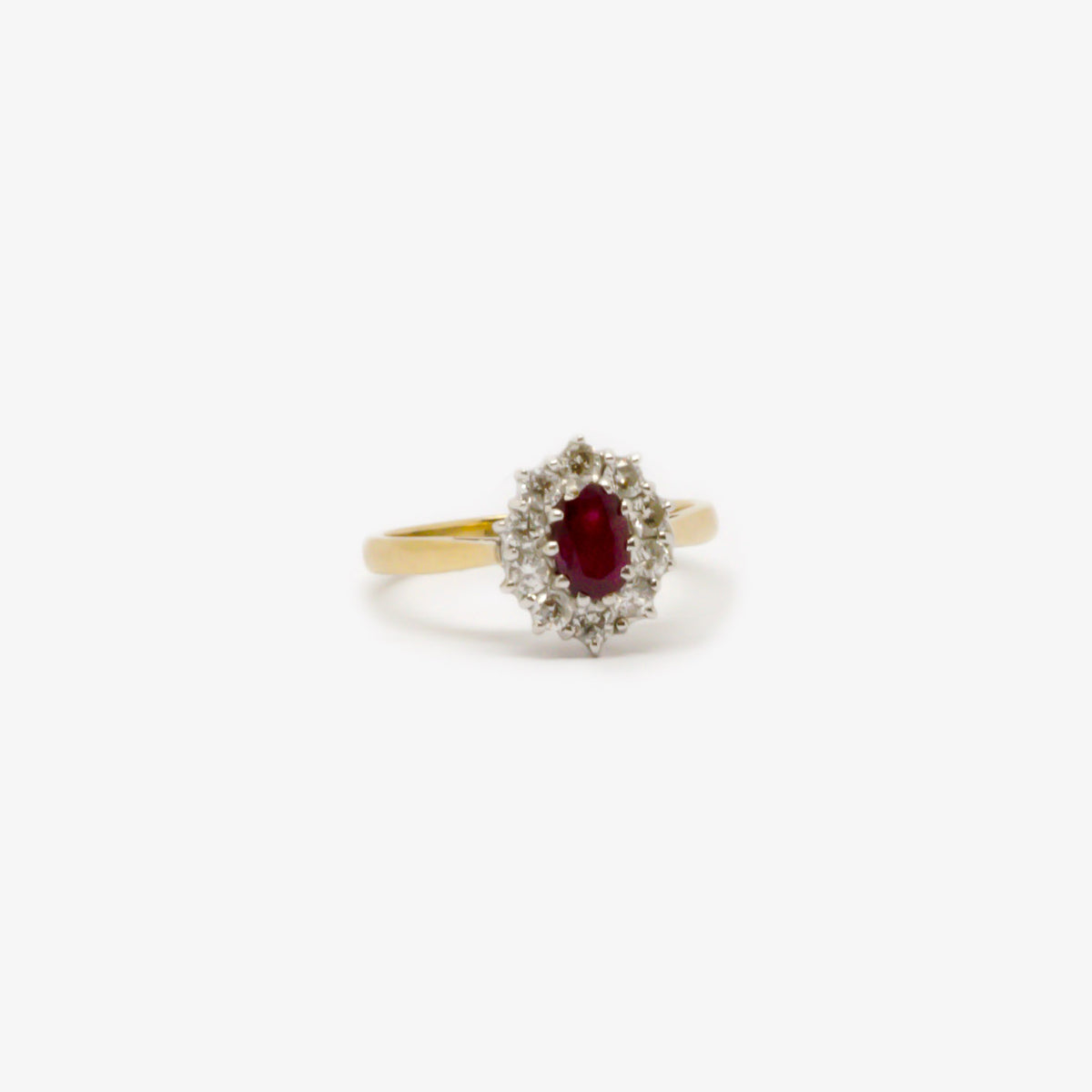Ruby, Diamond & Gold Cluster Ring