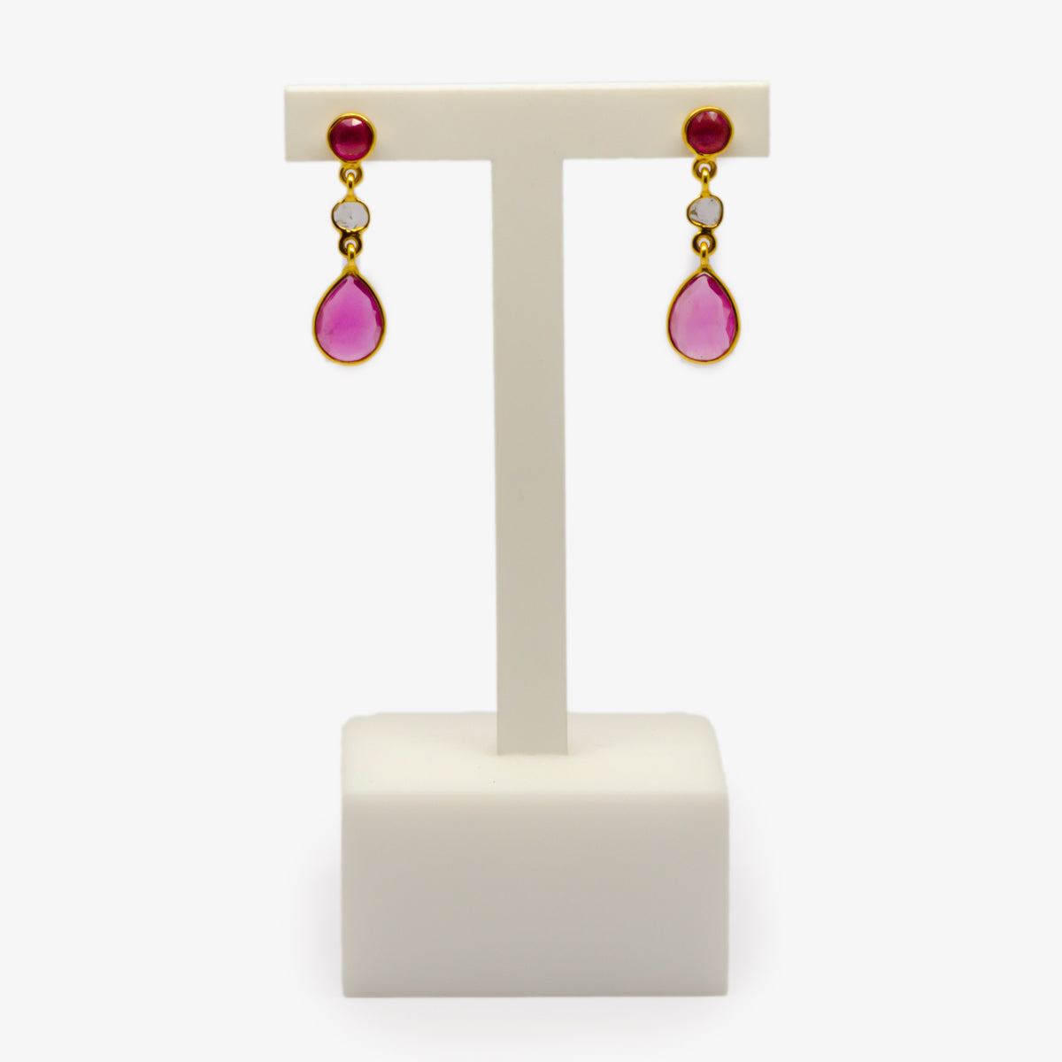 Ruby & Slice Diamond Drop Earrings