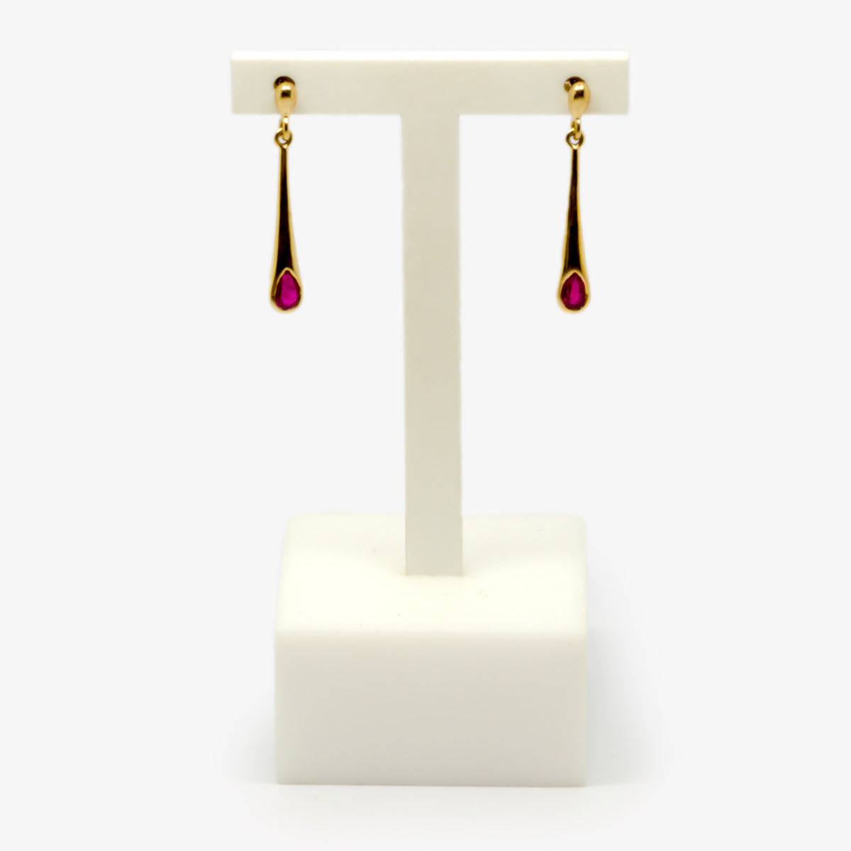 Jordans Jewellers 9ct yellow gold ruby drop earrings