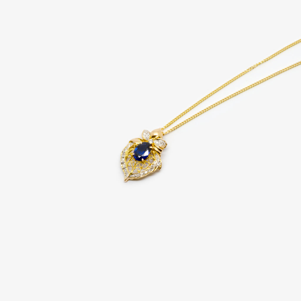 Jordans Jewellers 20ct yellow gold pre-owned sapphire and diamond pendant necklace