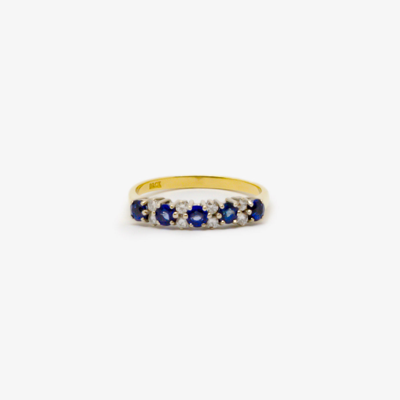 Jordans Jewellers 18ct yellow gold antique thirteen stone sapphire and diamond ring