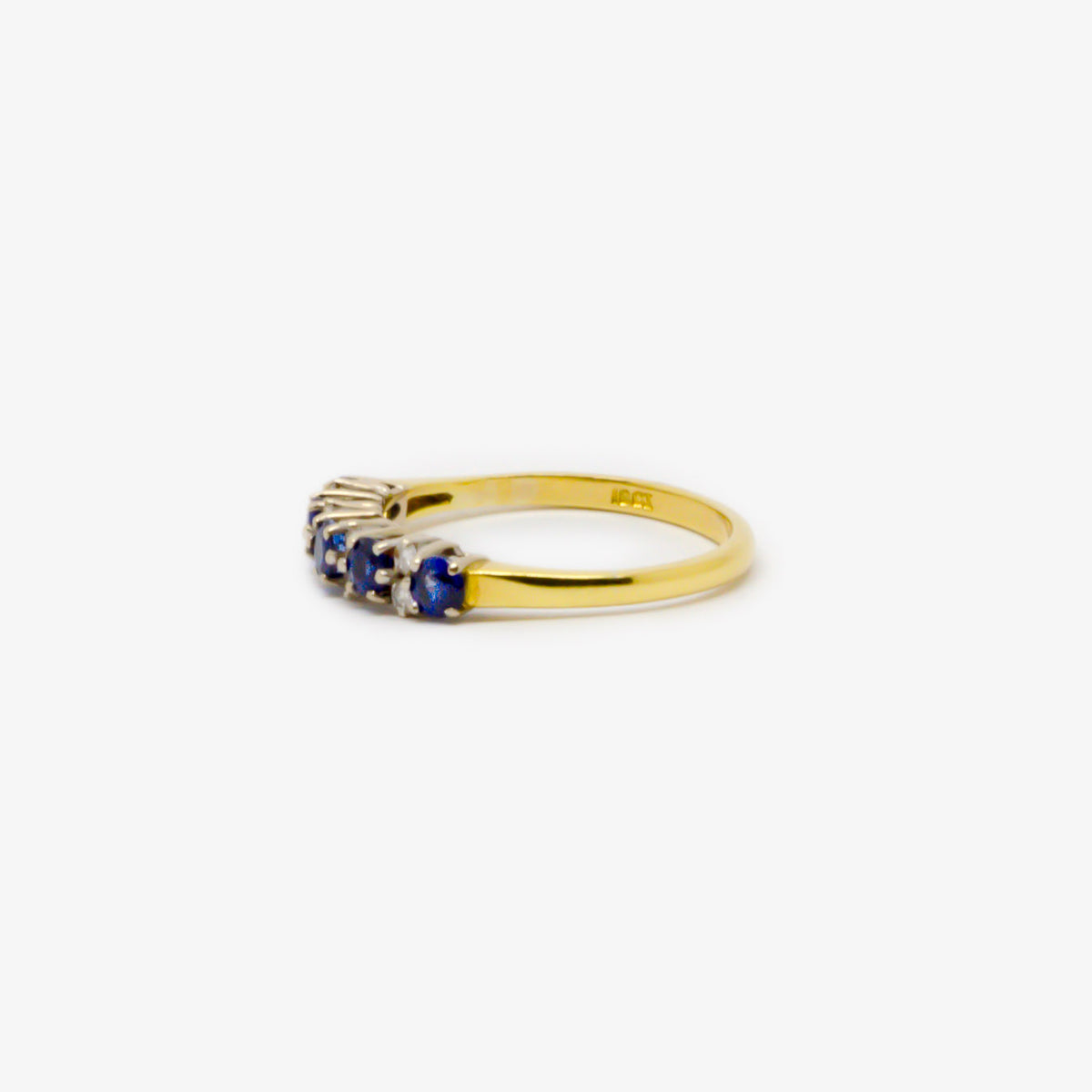 Antique Thirteen Stone Sapphire & Diamond Gold Ring