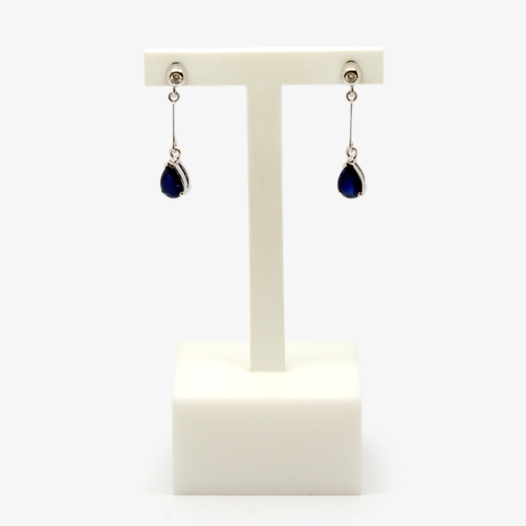 Jordans Jewellers 9ct white gold sapphire and diamond drop earrings