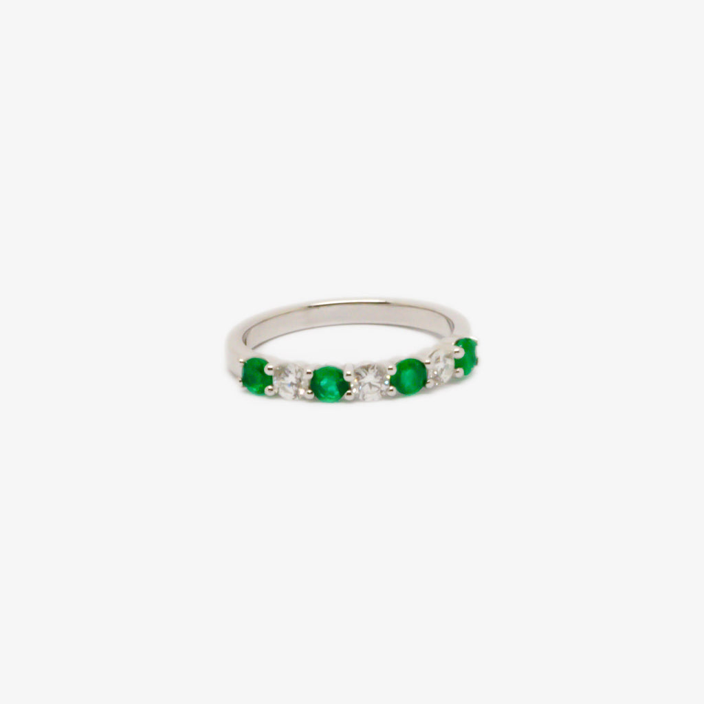 Jordans Jewellers 18ct white gold seven stone emerald and diamond half eternity ring