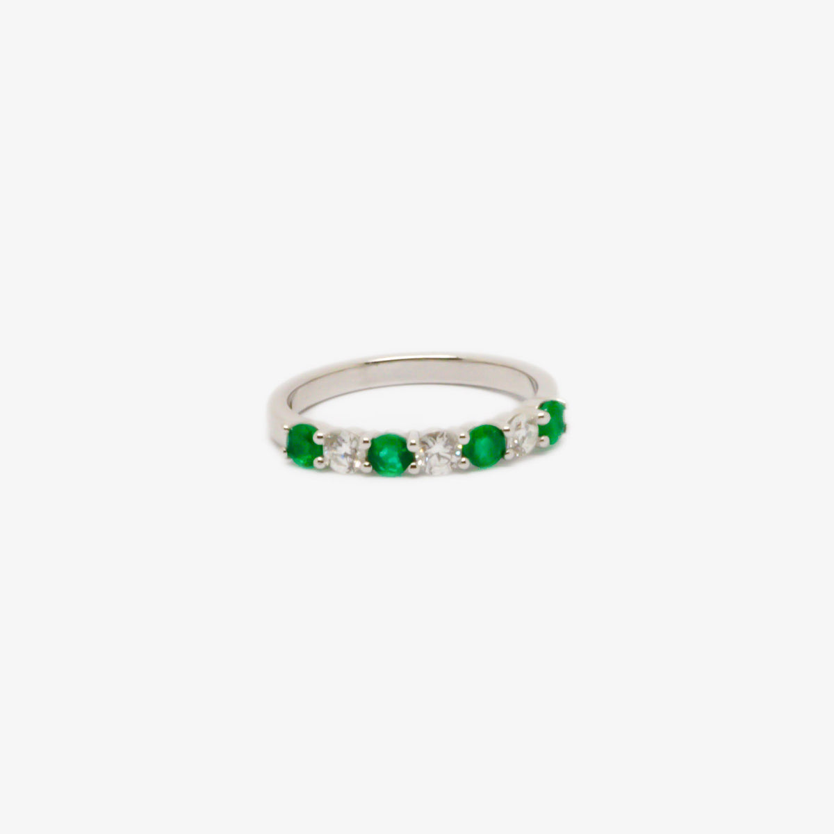Seven Stone Emerald & Diamond Eternity Ring