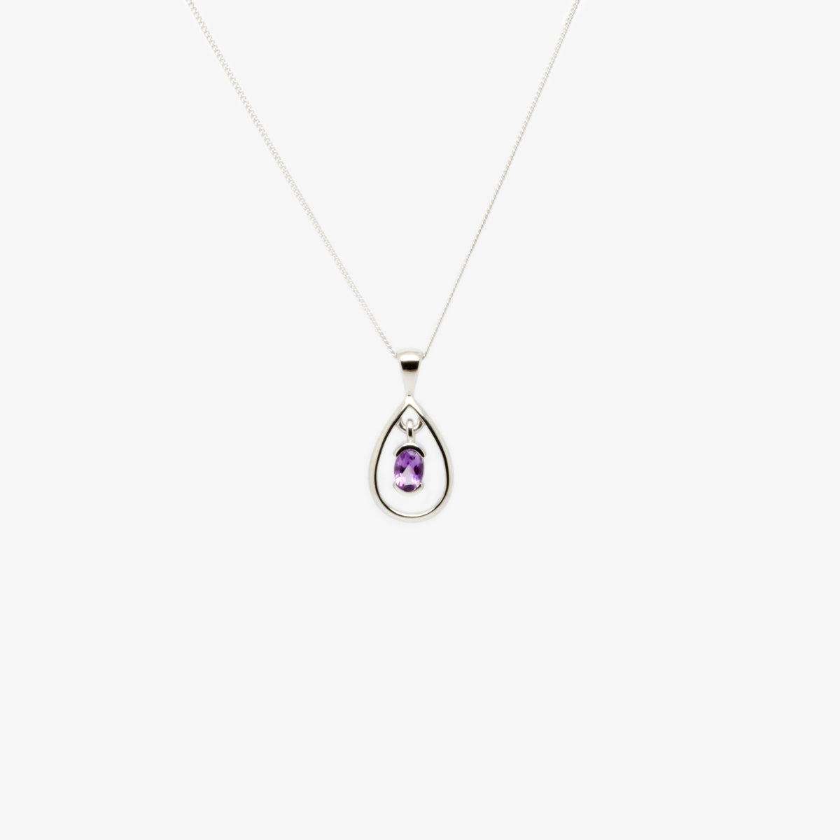 Front view picture of the amethyst and silver pendant necklace.
