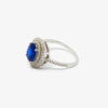 Jordans Jewellers silver double halo blue crystal oval ring - Alternate shot 1