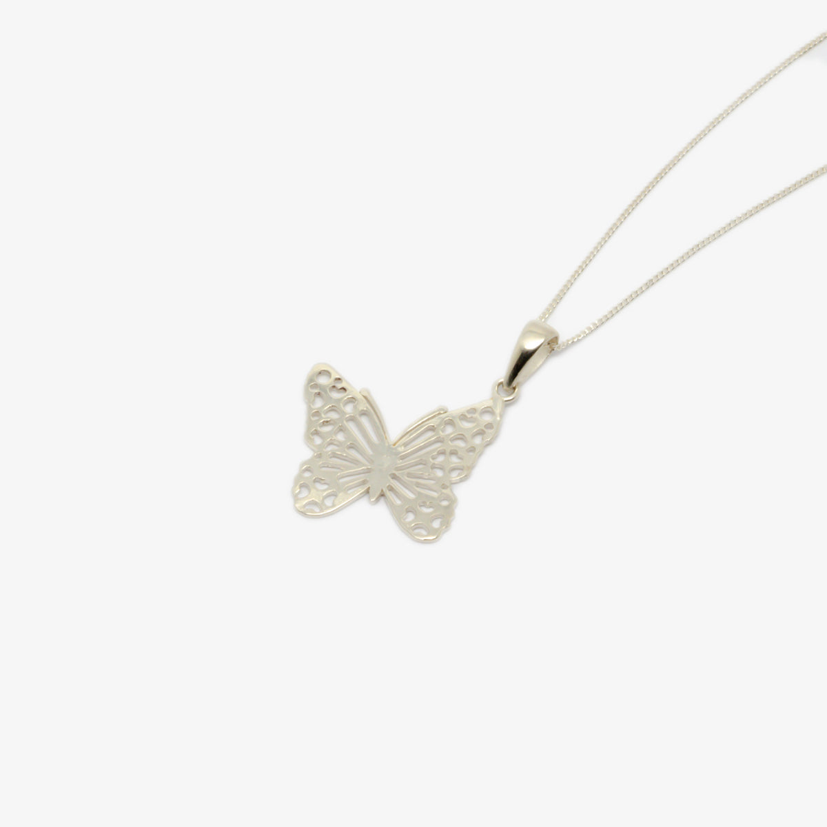 Close-up and on the side picture of the silver butterfly pendant necklace.