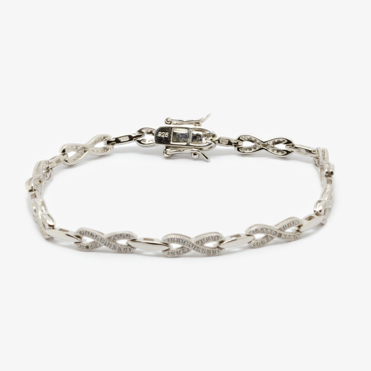 Picture of the silver crystal bracelet.