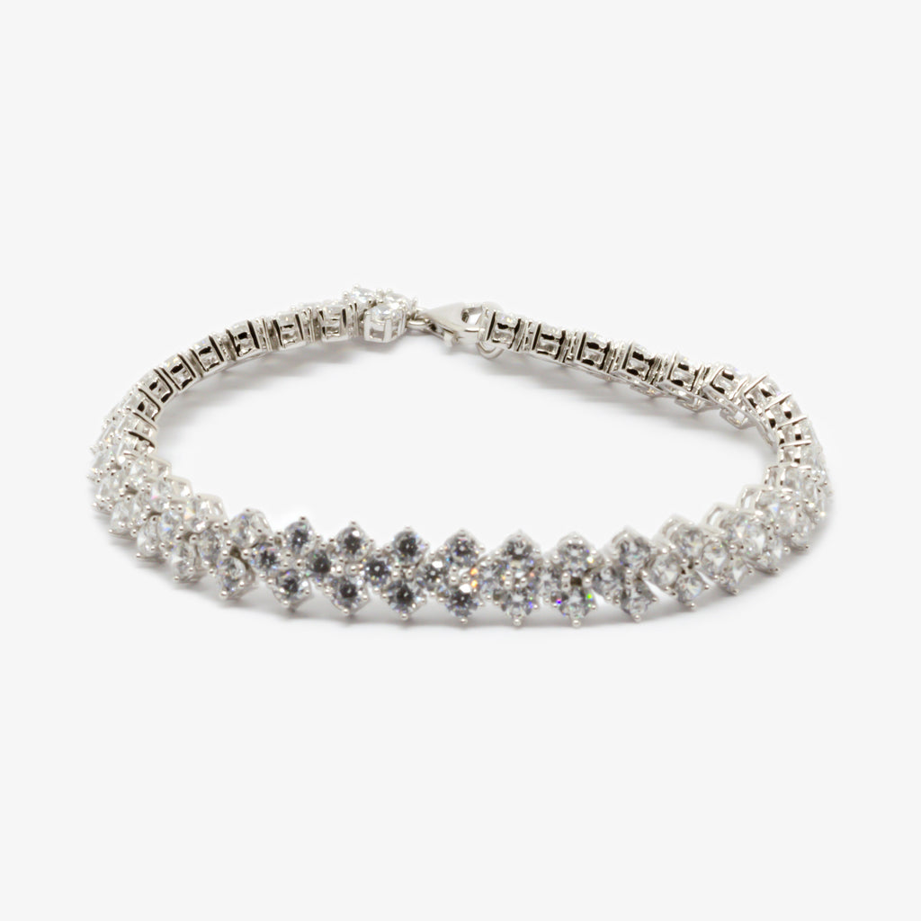 Jordans Jewellers three row cubic zirconia tennis bracelet