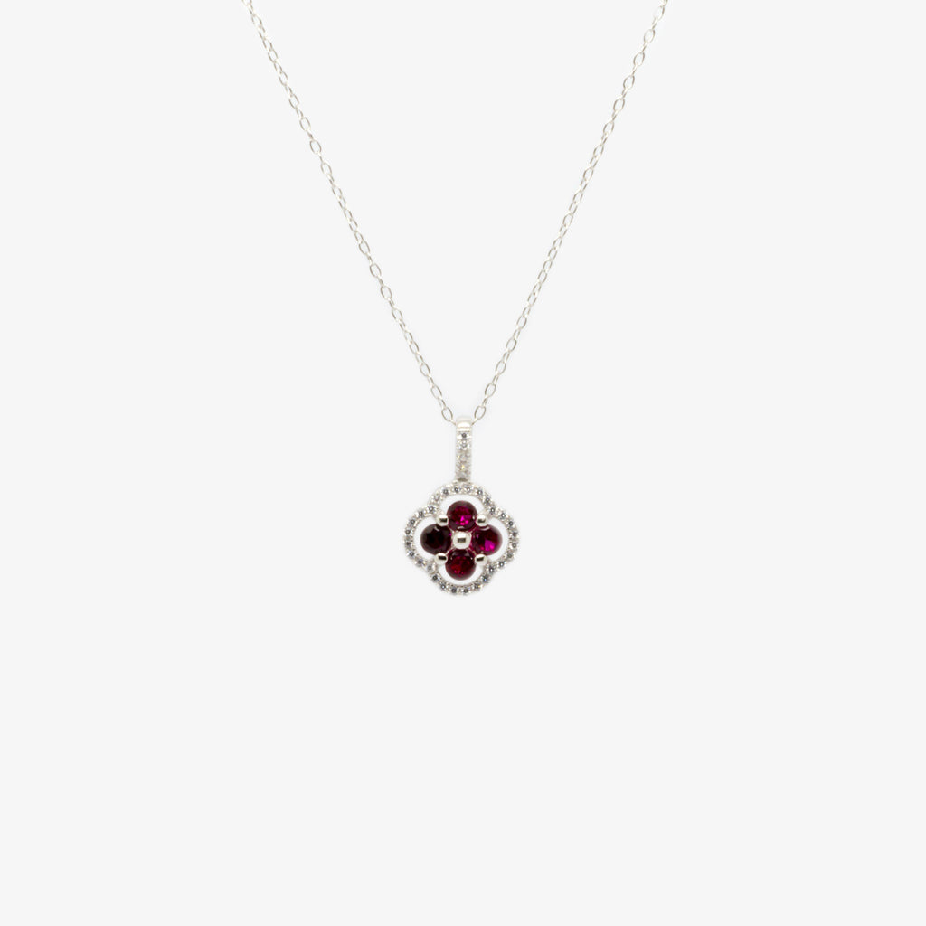 Jordans Jewellers silver four stone red cubic zirconia pendant necklace