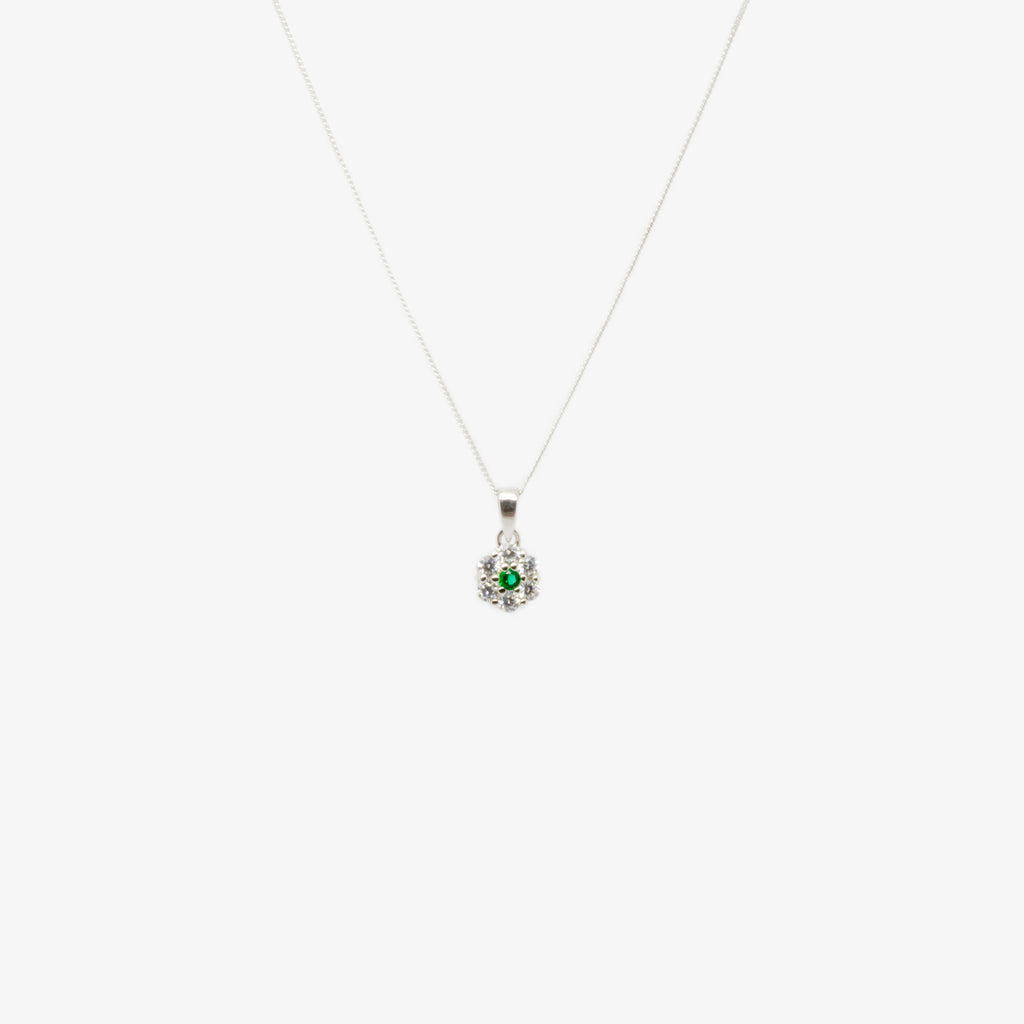 Jordans Jewellers silver with rhodium plating green crystal and cubic zirconia flower pendant necklace