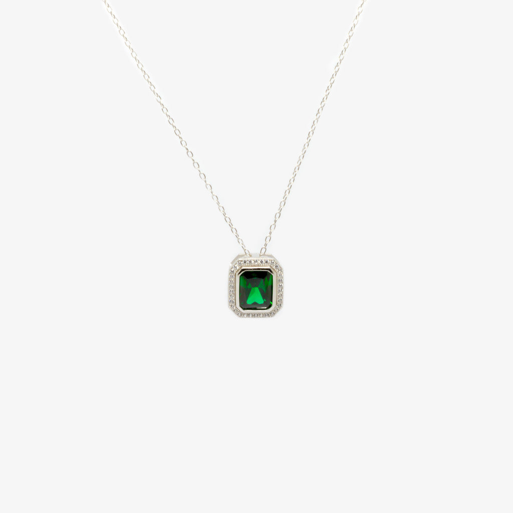 Jordans Jewellers silver green rectangle cubic zirconia pendant necklace