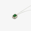 Jordans Jewellers silver green rectangle cubic zirconia pendant necklace - Alternate shot 1