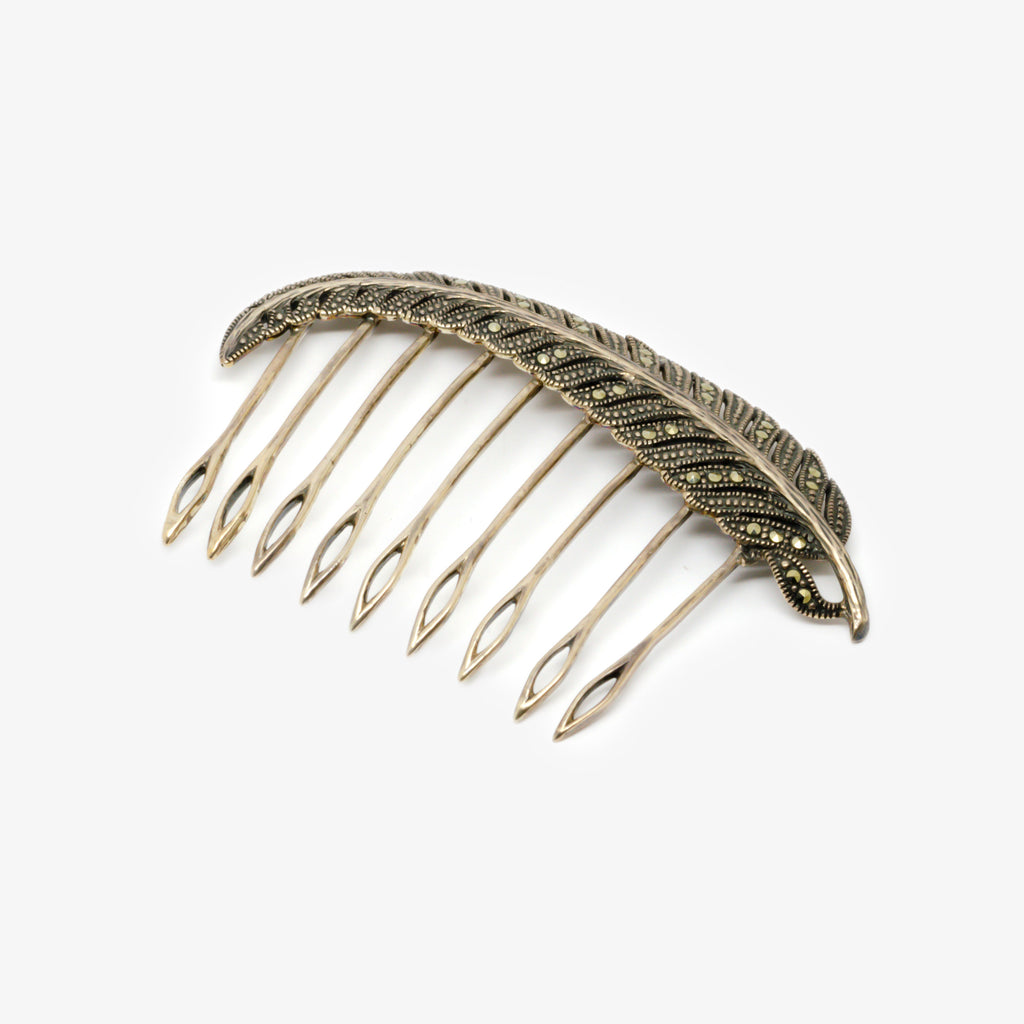Jordans Jewellers silver marcasite feather hair comb