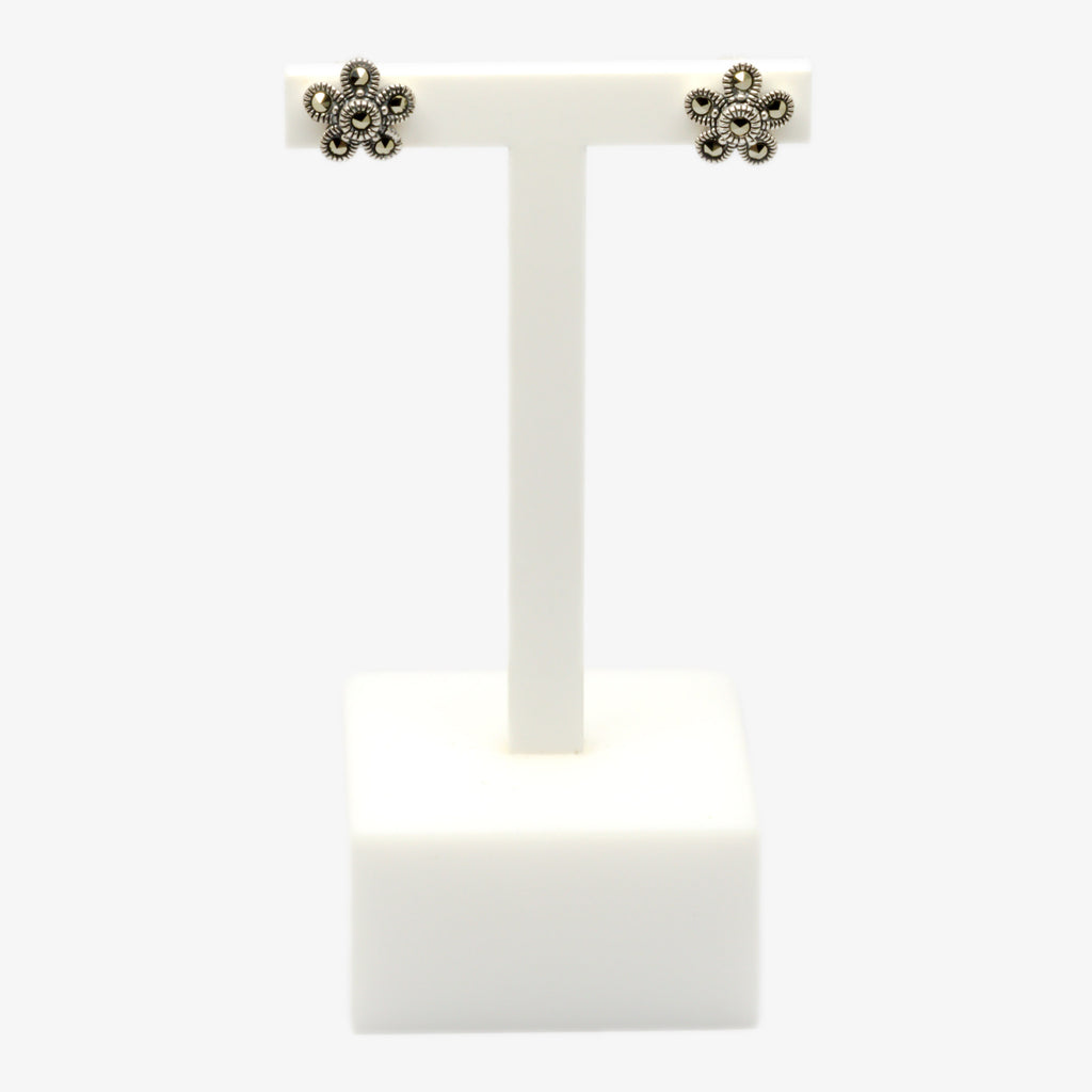 Jordans Jewellers silver marcasite flower stud earrings