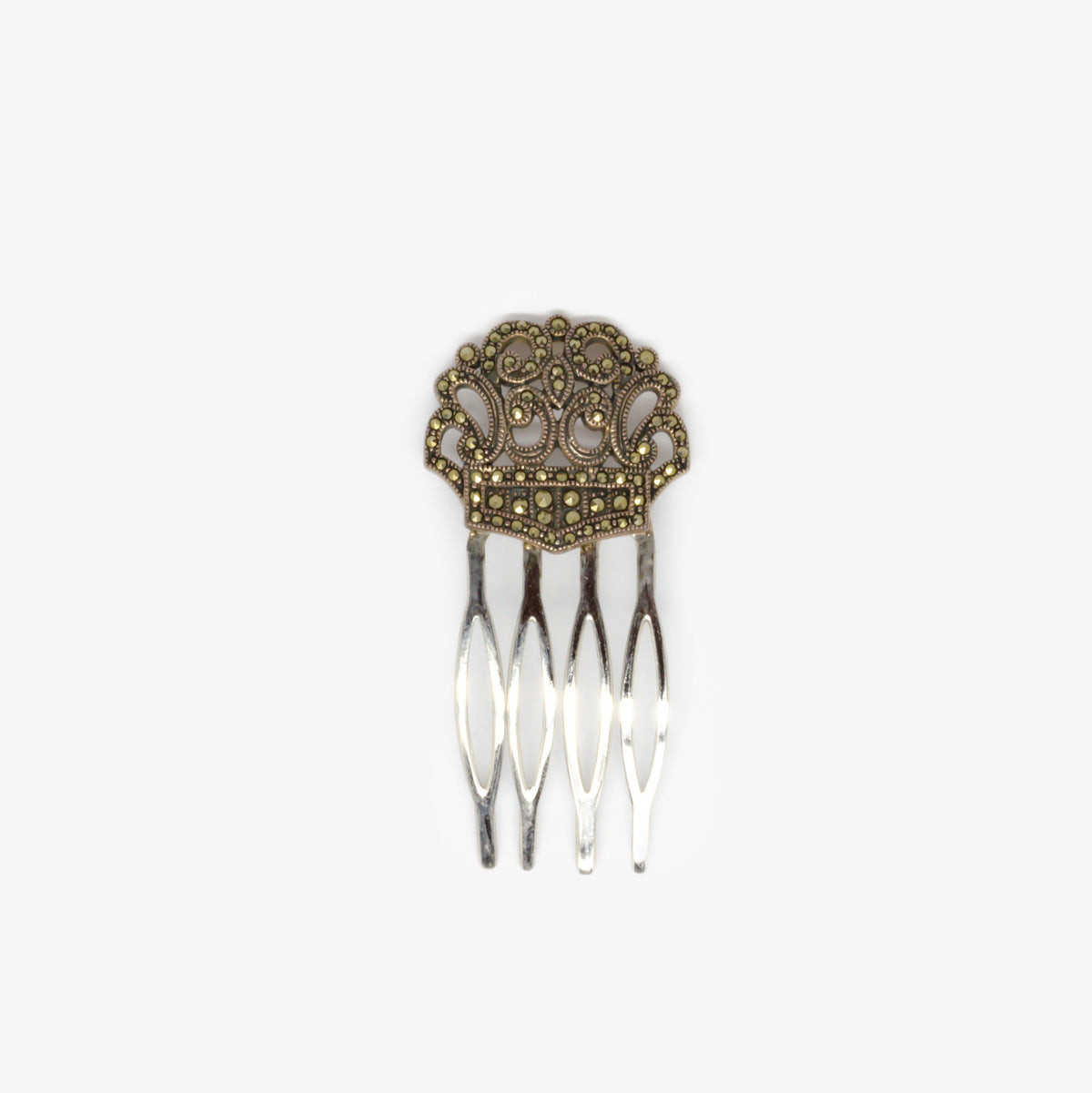 Jordans Jewellers silver marcasite hair slide - Alternate shot 1