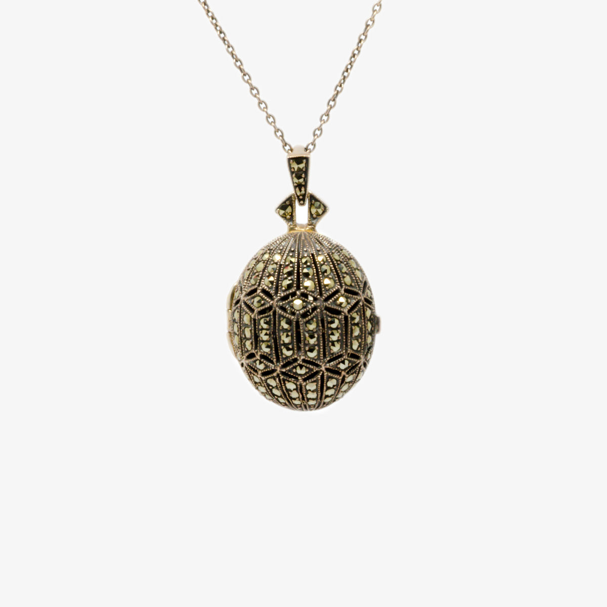 Close up picture of the marcasite egg locket front view.