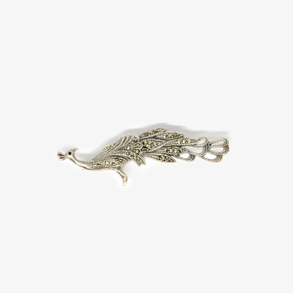 Jordans Jewellers silver marcasite peacock brooch - Alternate shot 1