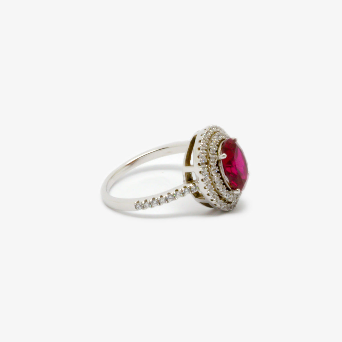 Right side view of the double halo cubic zirconia red oval ring picture.