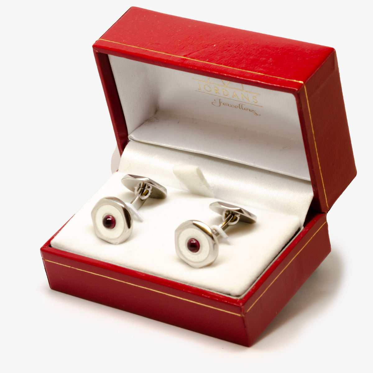 Silver Ruby & White Cufflinks