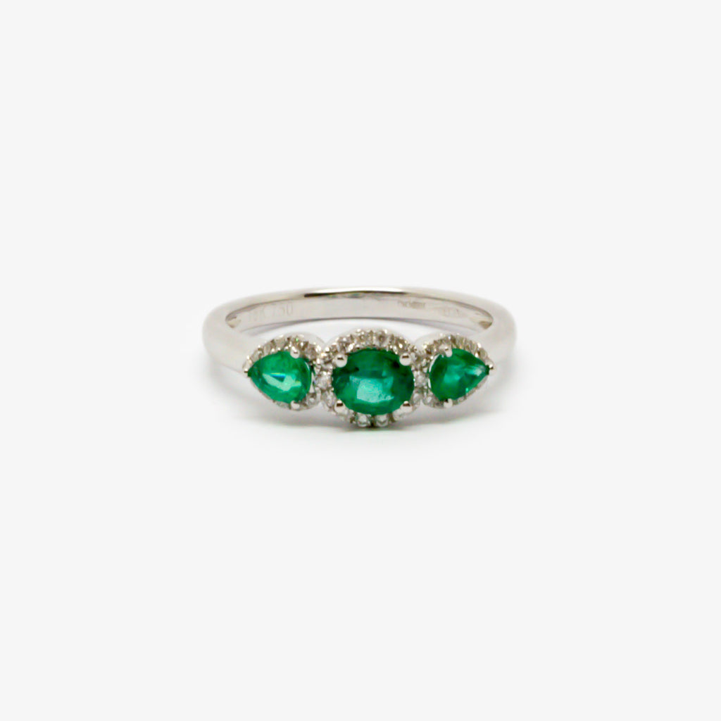 Jordans Jewellers 18ct white gold three emerald and diamond ring