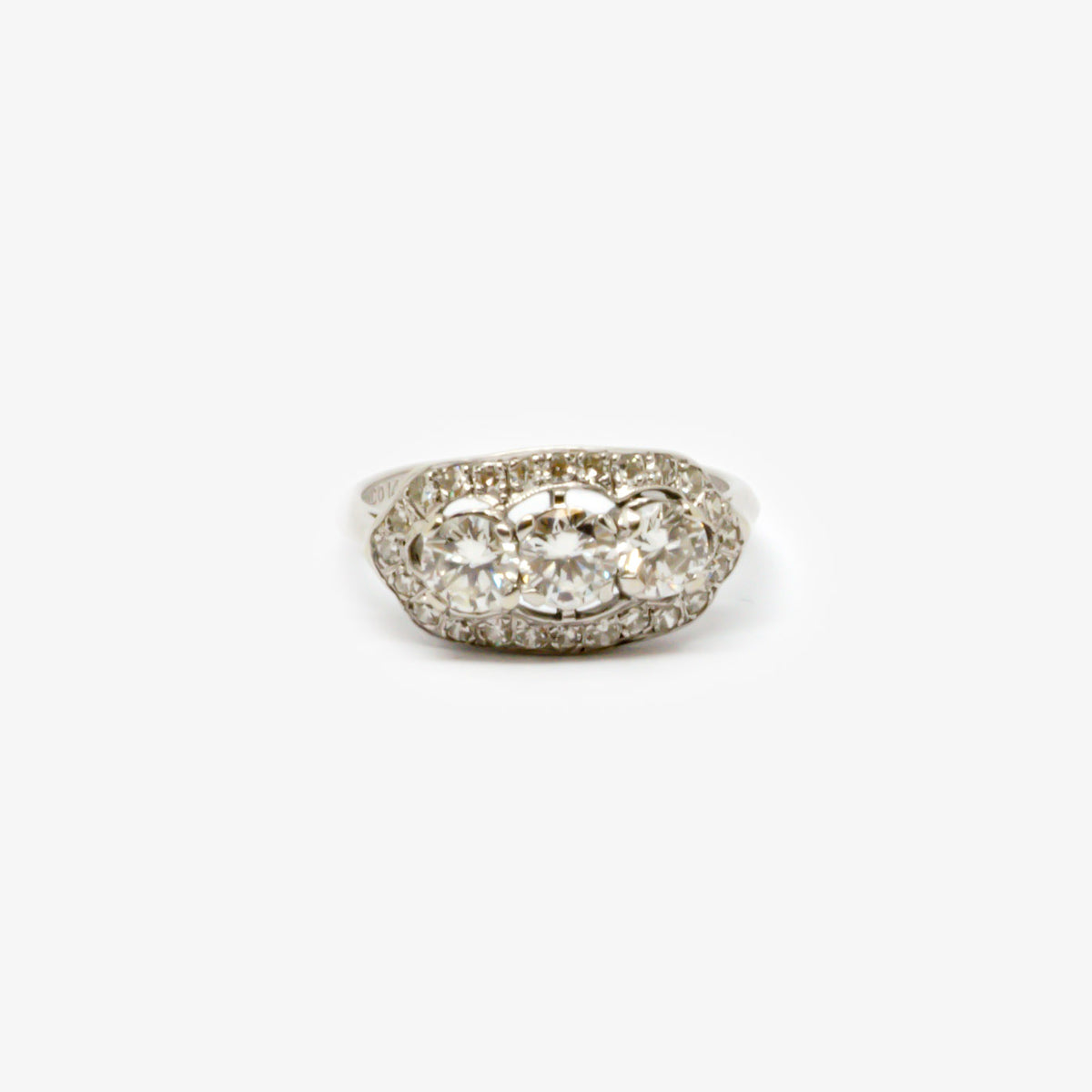 Jordans Jewellers antique 14ct white gold Art Deco three stone diamond halo ring