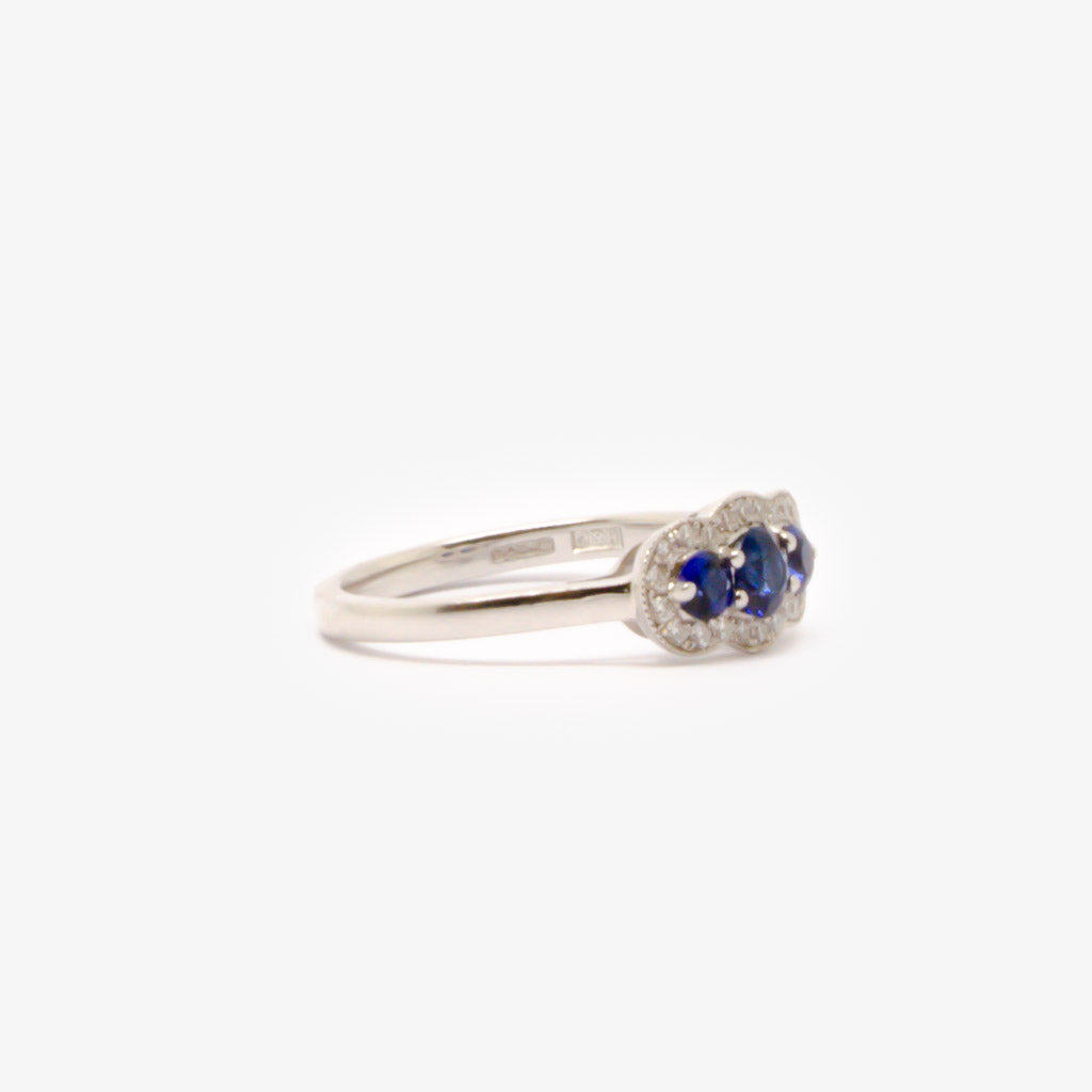 Three Stone Sapphire & Diamond Ring