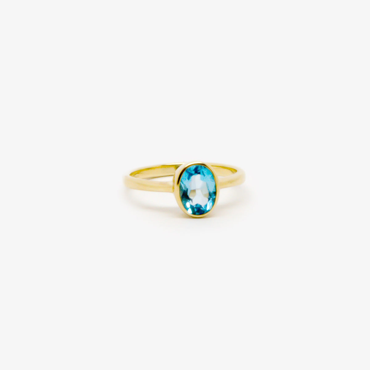 Oval Blue Topaz Rubover Ring