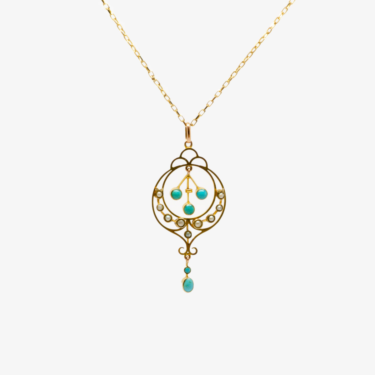 Turquoise Seed Pearl Lavalier Necklace