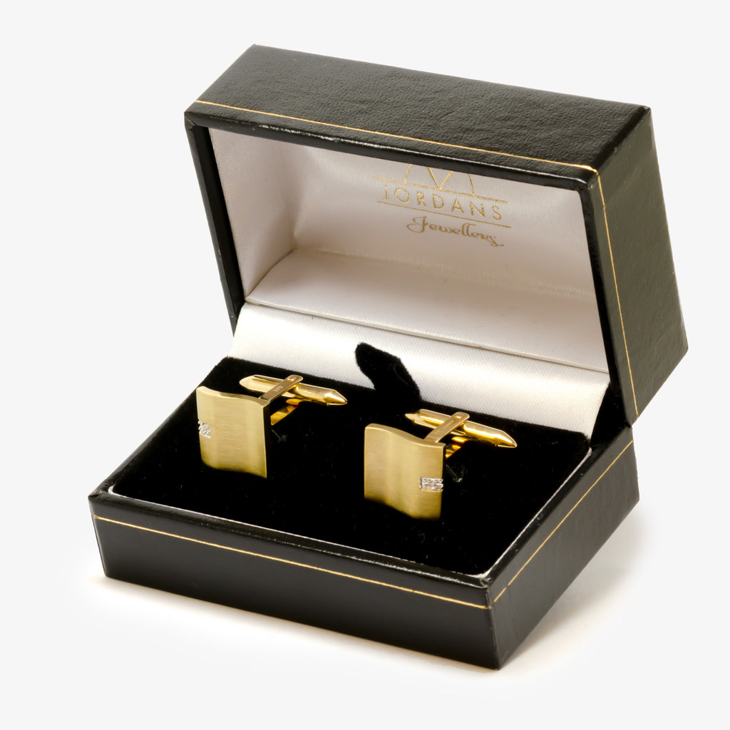 Jordans Jewellers 9ct yellow gold diamond set wavy cufflinks