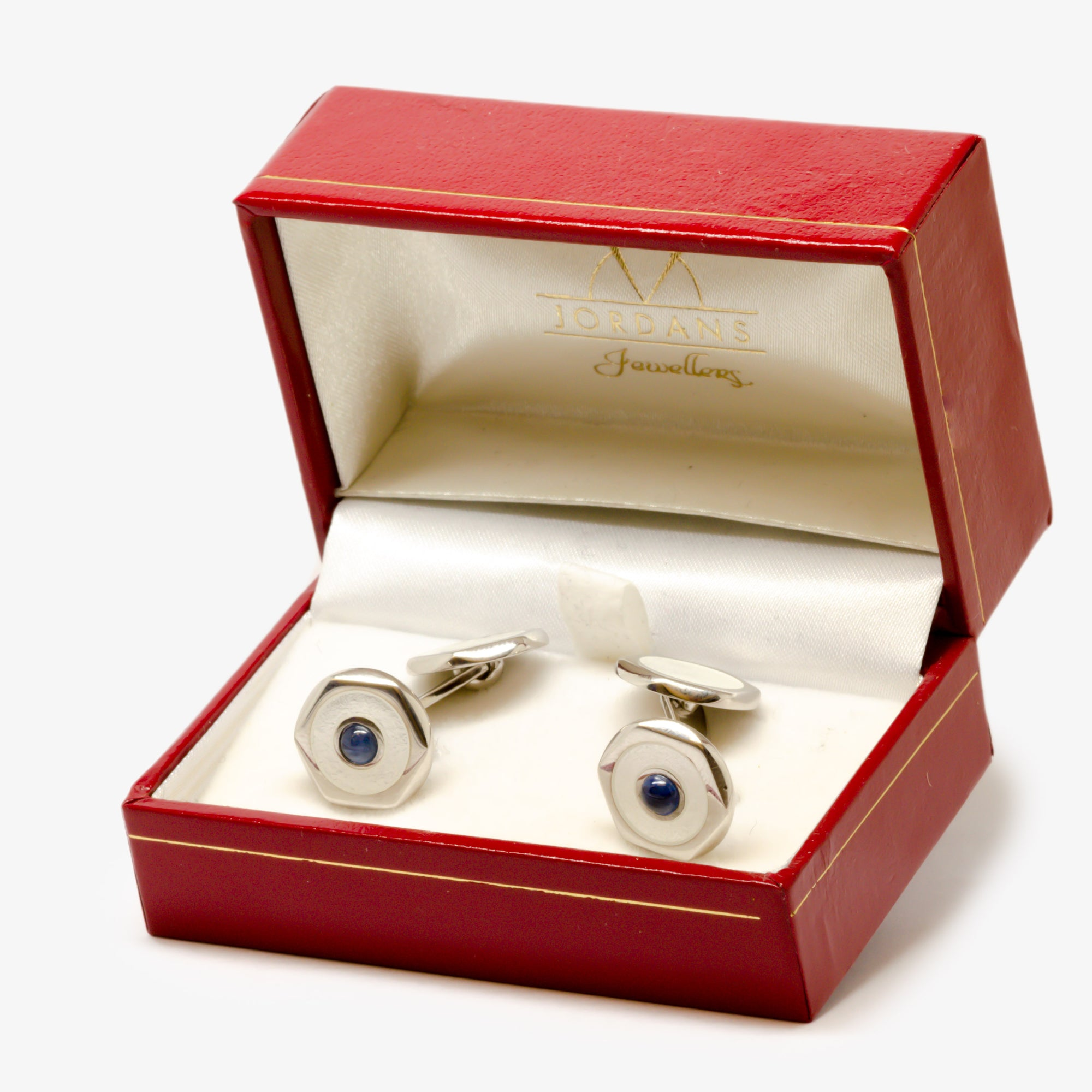 Jordans Jewellers silver, sapphire and white cufflinks