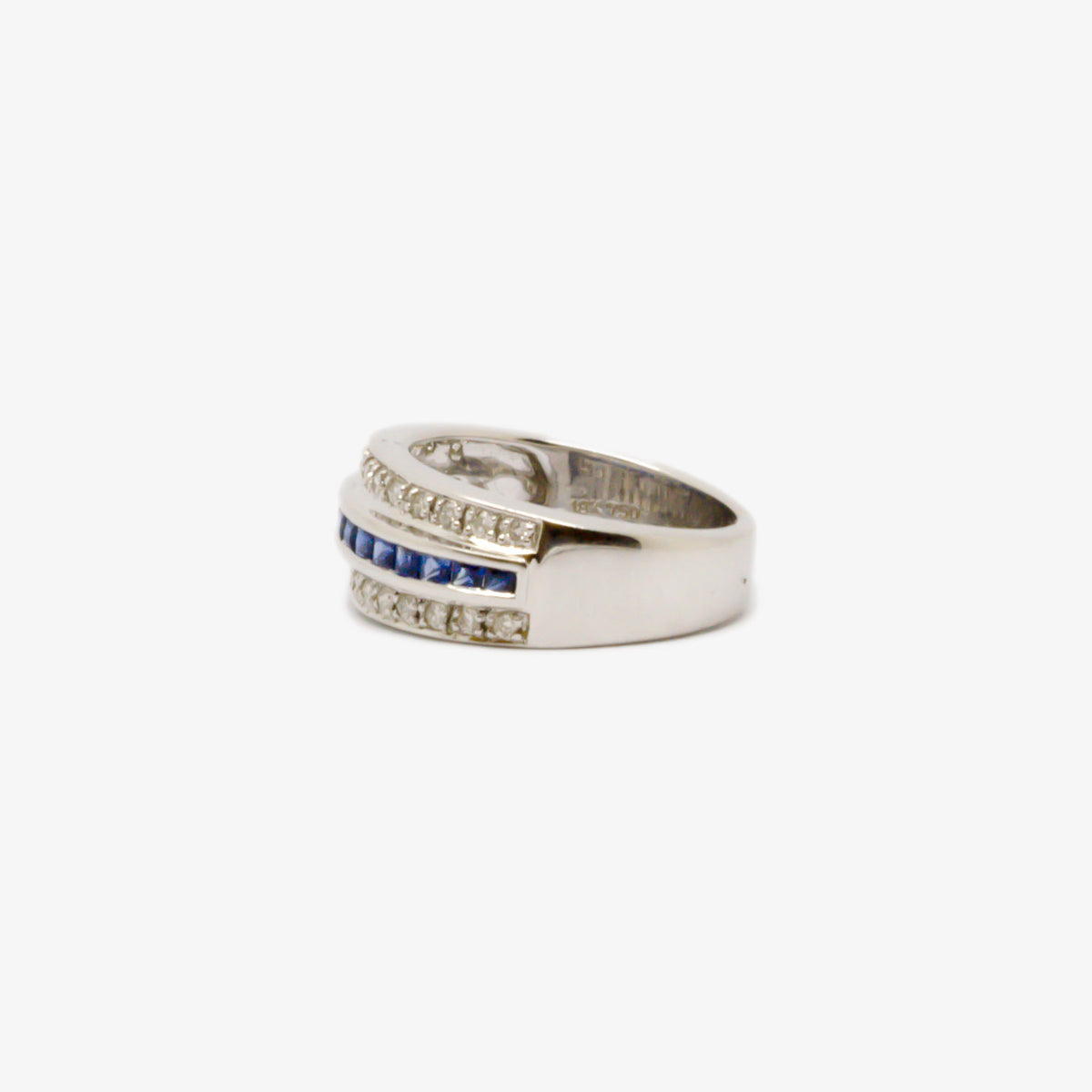 Wide White Gold, Diamond & Sapphire Ring